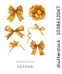watercolor bow ribbon gift... | Shutterstock . vector #1038612067