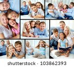 Collage Of Happy Family Restin...