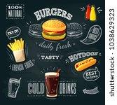 chalkboard fastfood ads  ... | Shutterstock . vector #1038629323