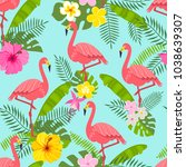 seamless pattern with flamingo  ... | Shutterstock .eps vector #1038639307