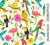 seamless pattern with macaw ... | Shutterstock .eps vector #1038639313