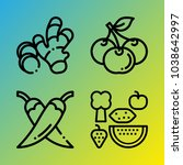 vegetarian vector icon set... | Shutterstock .eps vector #1038642997