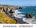 wild pacific coast with cliffs... | Shutterstock . vector #1038643627