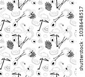 tropical seamless hand drawn... | Shutterstock .eps vector #1038648517