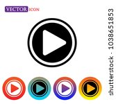 play icon vector  play button ... | Shutterstock .eps vector #1038651853