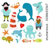 vector marine set. cartoon... | Shutterstock .eps vector #1038652567
