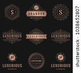 luxury logos templates set ... | Shutterstock .eps vector #1038652807