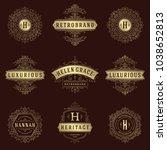 luxury logos templates set ... | Shutterstock .eps vector #1038652813