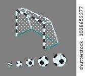 pixel art soccer ball icons in... | Shutterstock .eps vector #1038653377