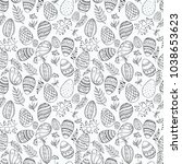 seamless pattern with easter... | Shutterstock .eps vector #1038653623