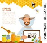 illustrations at beekeeping... | Shutterstock .eps vector #1038654103