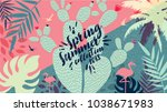 spring summer collection 2018.... | Shutterstock .eps vector #1038671983