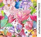 wildflower magnolia flower... | Shutterstock . vector #1038679033