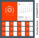 calendar for 2018 year. week... | Shutterstock .eps vector #1038689233