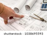 man works with the technical... | Shutterstock . vector #1038695593
