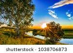 sunset rural river panoramic... | Shutterstock . vector #1038706873