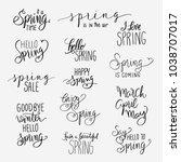 spring lettering write set.... | Shutterstock .eps vector #1038707017