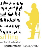 silhouettes of sitting people. | Shutterstock .eps vector #103870787
