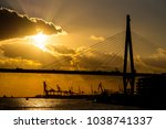 the bridge and container port... | Shutterstock . vector #1038741337