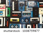 retro audio cassette tapes on... | Shutterstock . vector #1038759877