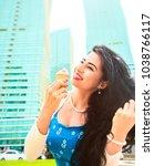 colorful fashion portrait of... | Shutterstock . vector #1038766117