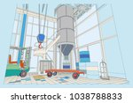 the interior of the plant with... | Shutterstock .eps vector #1038788833