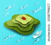3d vector paper cut green... | Shutterstock .eps vector #1038798817