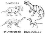 dinosaurs tyrannosaurus rex ... | Shutterstock .eps vector #1038805183