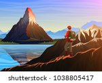 mountain matterhorn with... | Shutterstock .eps vector #1038805417