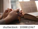 religious christian girl with... | Shutterstock . vector #1038812467
