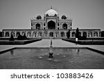 Humayun's Tomb in Black and White - stock photo