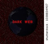 dark web text with earth by... | Shutterstock . vector #1038834907