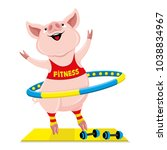cheerful pink pig with hula... | Shutterstock .eps vector #1038834967