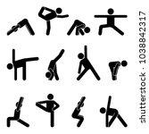 stick figure basic yoga... | Shutterstock .eps vector #1038842317