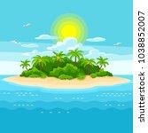 illustration of tropical island ...   Shutterstock .eps vector #1038852007