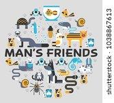 pets flat illustration circle... | Shutterstock .eps vector #1038867613