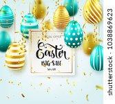 easter golden  green egg with... | Shutterstock .eps vector #1038869623