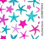 sea stars seamless pattern.... | Shutterstock .eps vector #1038870043