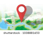 location pin. suburban map with ... | Shutterstock .eps vector #1038881653