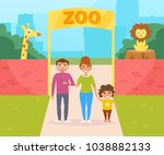 family at the zoo. vector....   Shutterstock .eps vector #1038882133