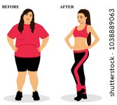 thin and fat. obesity. from fat ... | Shutterstock .eps vector #1038889063