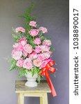 beautiful bouquet flower in vase | Shutterstock . vector #1038890017
