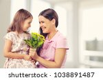 happy daughter and mother | Shutterstock . vector #1038891487