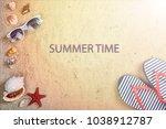 beach background. sunglasses ... | Shutterstock . vector #1038912787