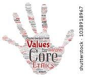 conceptual core values... | Shutterstock . vector #1038918967