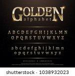 80's retro elegant gold colored ... | Shutterstock .eps vector #1038932023