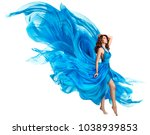 woman flying blue dress ... | Shutterstock . vector #1038939853