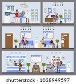 vetclinic building interior... | Shutterstock .eps vector #1038949597