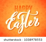 happy easter poster with hand... | Shutterstock .eps vector #1038978553