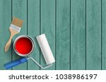 construction tools paint roller ... | Shutterstock .eps vector #1038986197